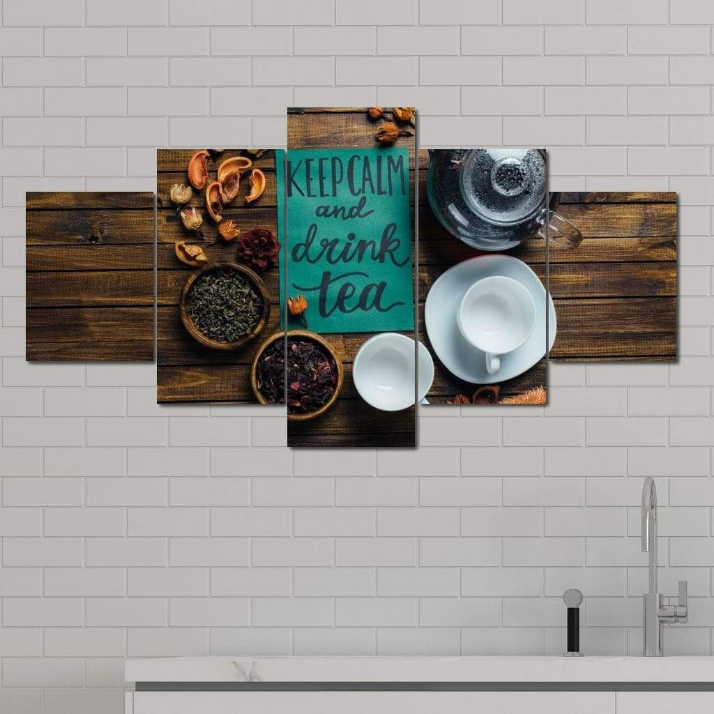 Keep Calm and Drink Tea Multi Panel Canvas Wall Art - NicheCanvas