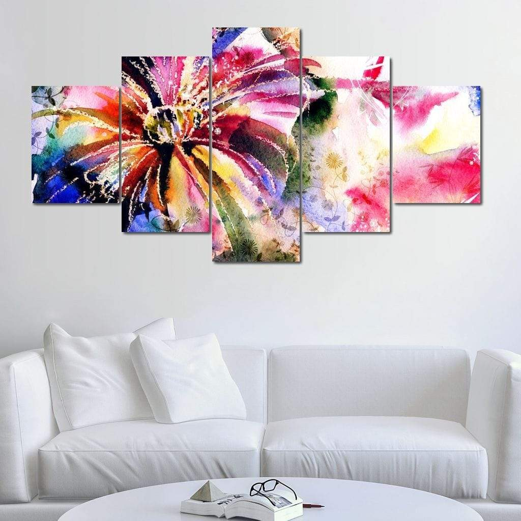 Multicolored Water Flower Multi Panel Canvas Wall Art - NicheCanvas