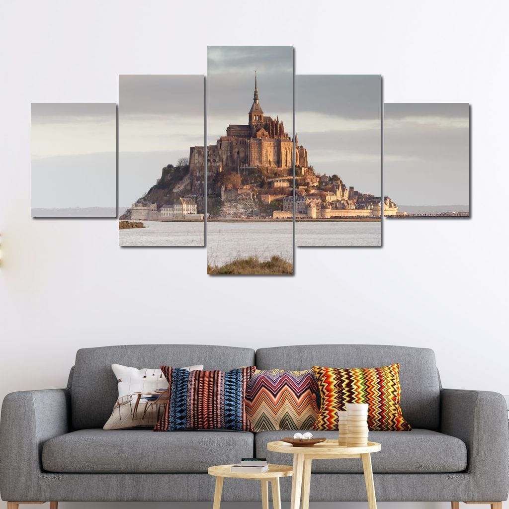 Mont Saint Michel Multi Panel Canvas Wall Art - NicheCanvas