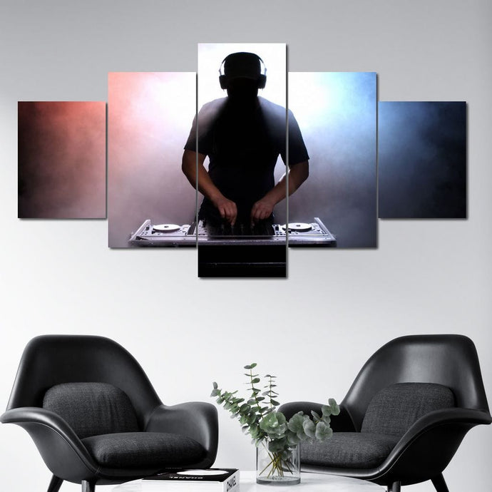 DJ Silhouette Multi Panel Canvas Wall Art - NicheCanvas