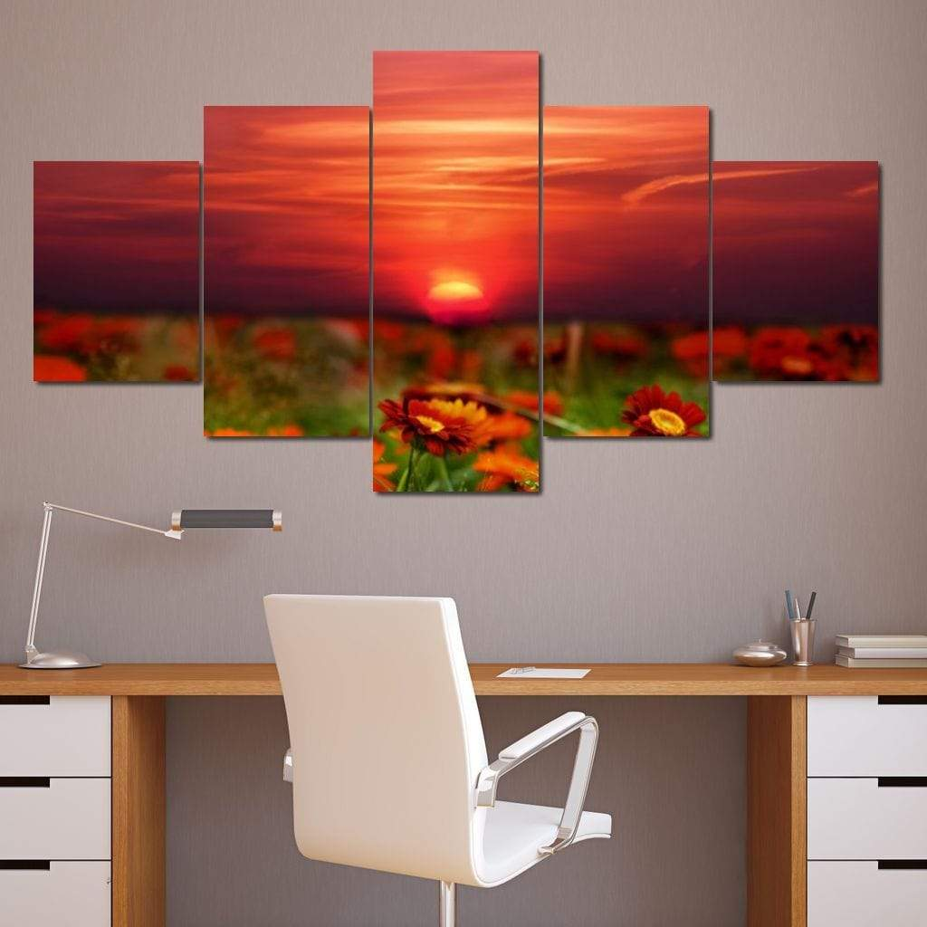 Flowers Last Ray Of Sun Multi Panel Canvas Wall Art - NicheCanvas