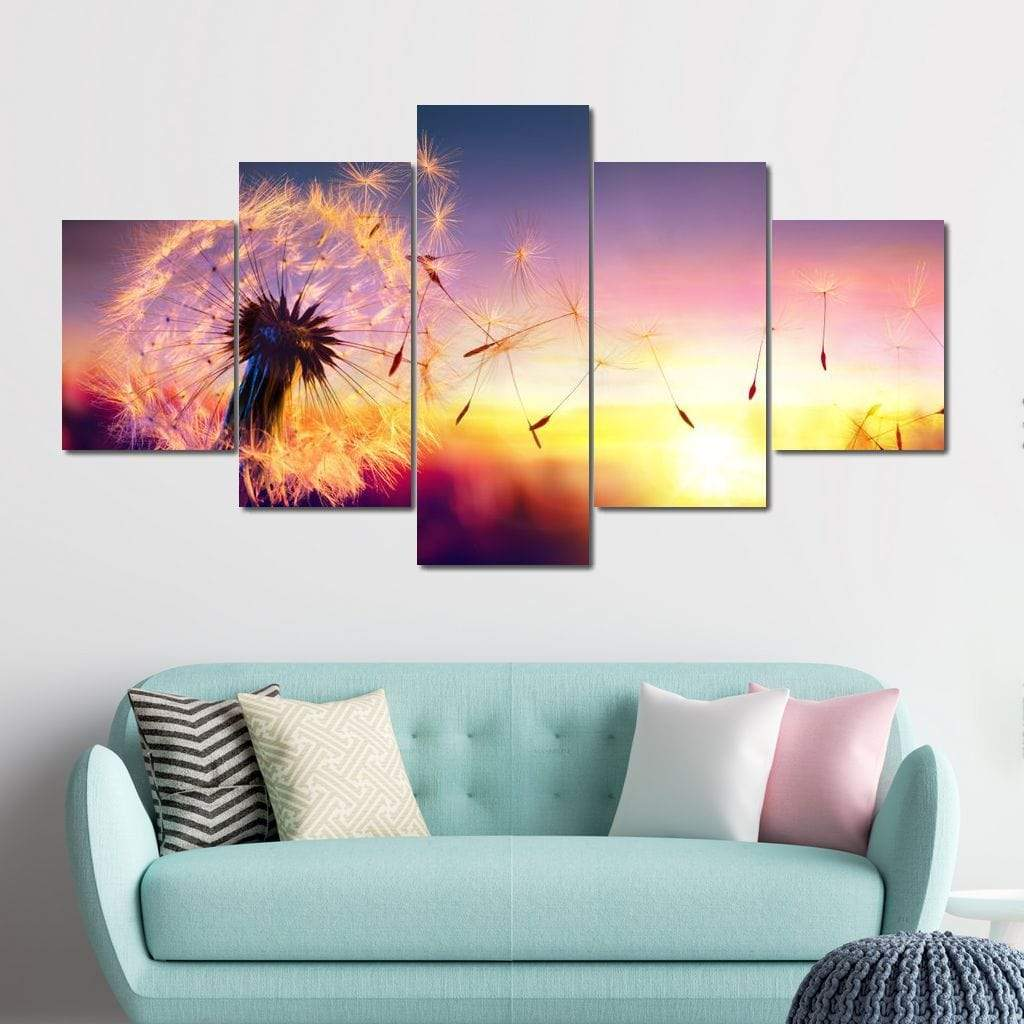 Dandelion Pollen Multi Panel Canvas Wall Art - NicheCanvas