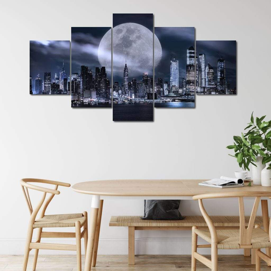 Manhattan Skyline Fantasy Multi Panel Canvas Wall Art - NicheCanvas