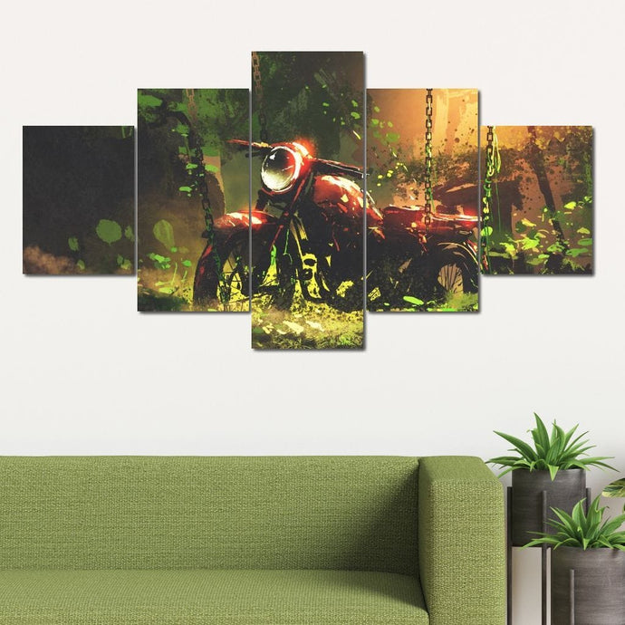Overgrown Motorcycle Multi Panel Canvas Wall Art - NicheCanvas