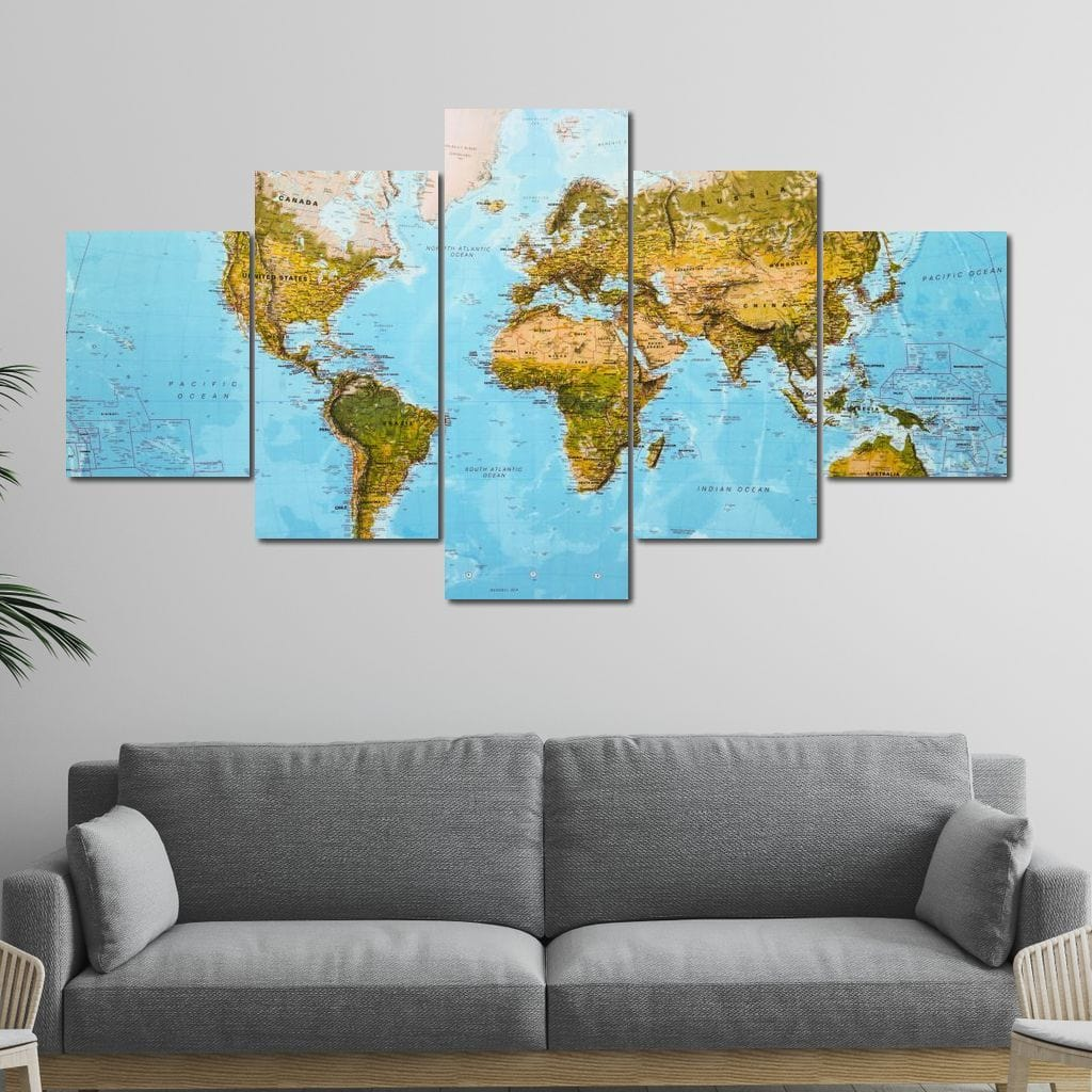 World Map - Education Multi Panel Canvas Wall Art - NicheCanvas