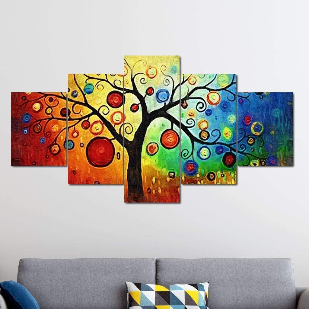 Psychedelic Tree Multi Panel Canvas Wall Art - NicheCanvas