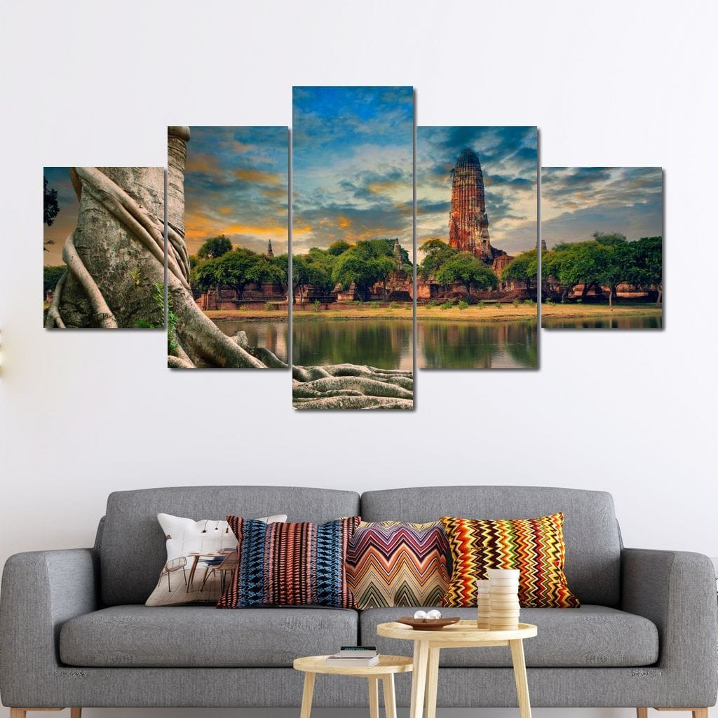 Temple of Ayuthaya Multi Panel Canvas Wall Art - NicheCanvas