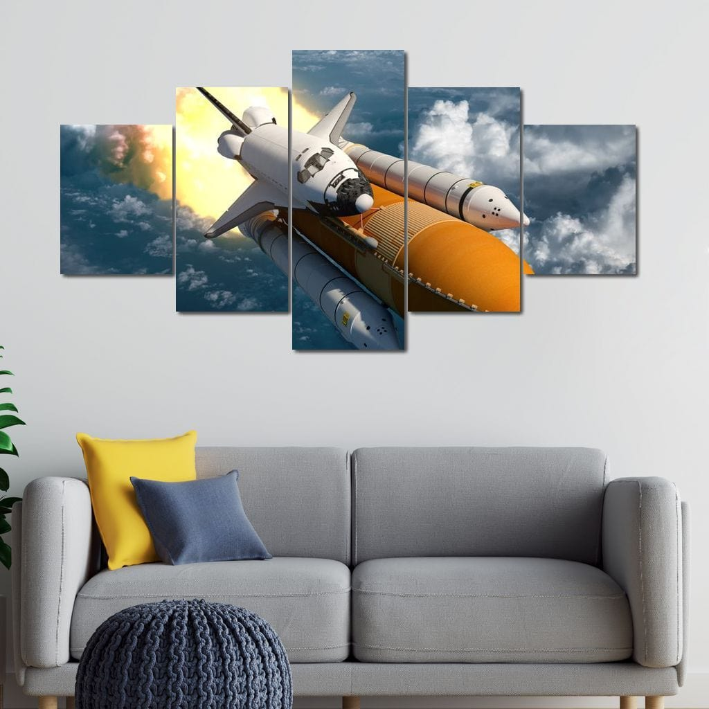 Space Shuttle Launch Multi Panel Canvas Wall Art - NicheCanvas