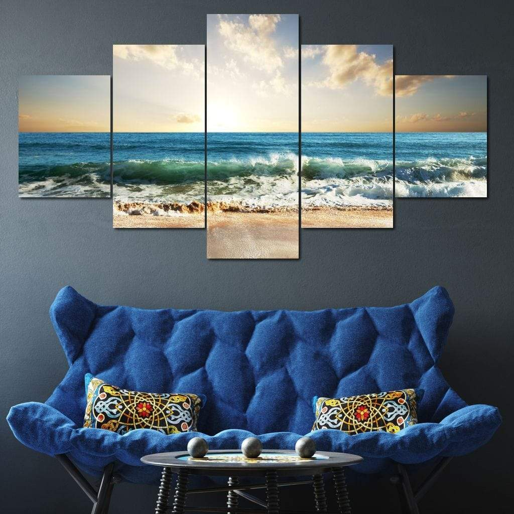 Diamond Beach Multi Panel Canvas Wall Art - NicheCanvas