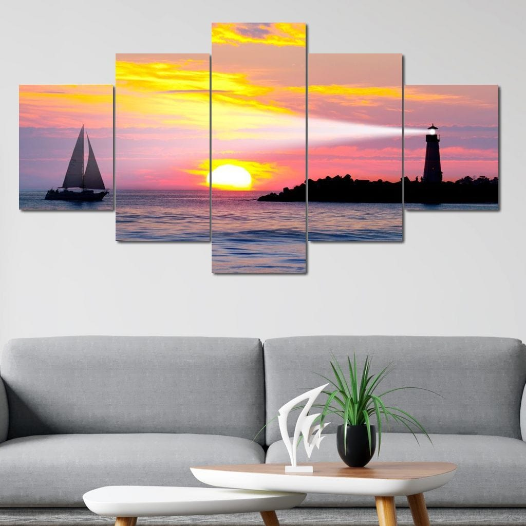 Lighthouse Beam Multi Panel Canvas Wall Art - NicheCanvas