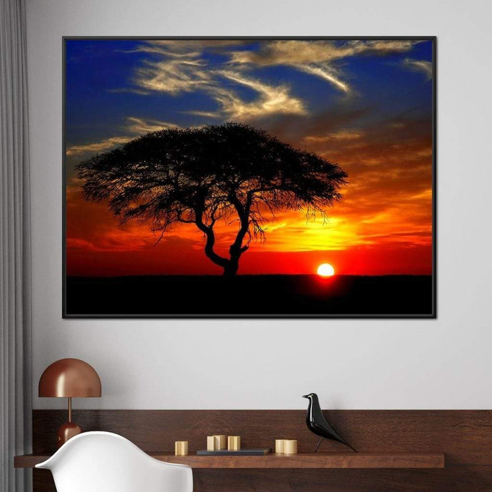 African Landscape Sunset Multi Panel Canvas Wall Art - NicheCanvas