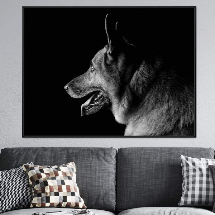 Black and White German Shepherd Multi Panel Canvas Wall Art - NicheCanvas