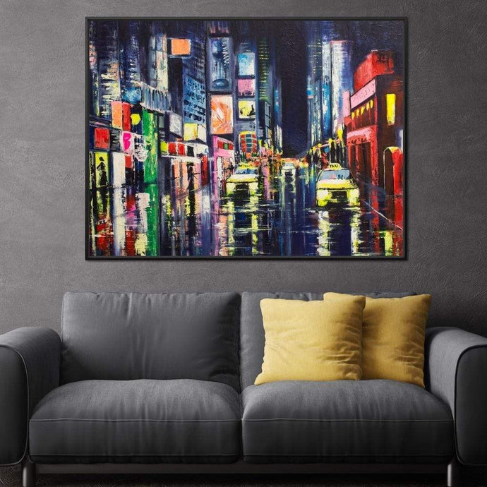 Downtown Lights Multi Panel Canvas Wall Art - NicheCanvas