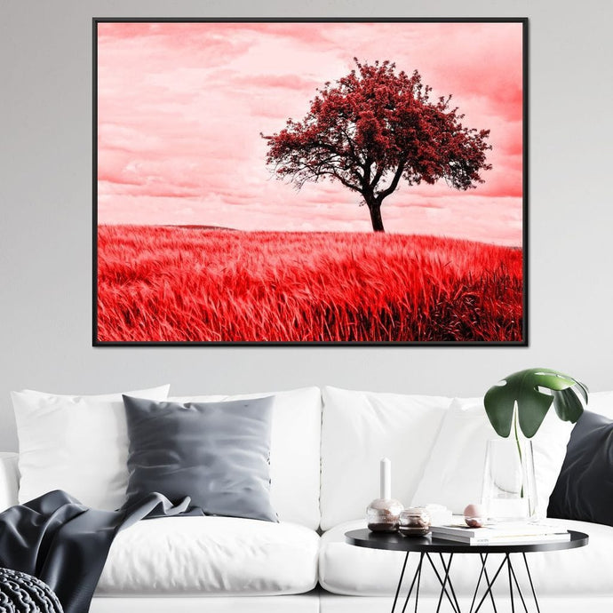Grass Fileds with Tree - Johanjjf Multi Panel Canvas Wall Art - NicheCanvas