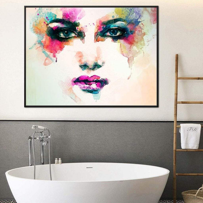 Watercolor Abstract Woman Portrait Multi Panel Canvas Wall Art - NicheCanvas