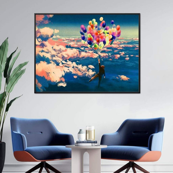 Flying with Colorful Balloons Large Floating Frame