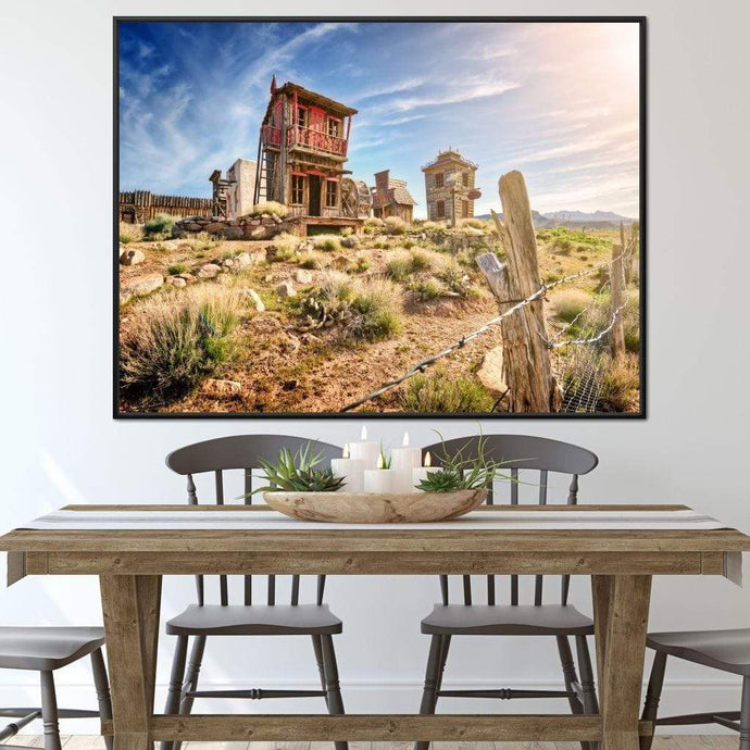 Abandoned Western Town Multi Panel Canvas Wall Art - NicheCanvas
