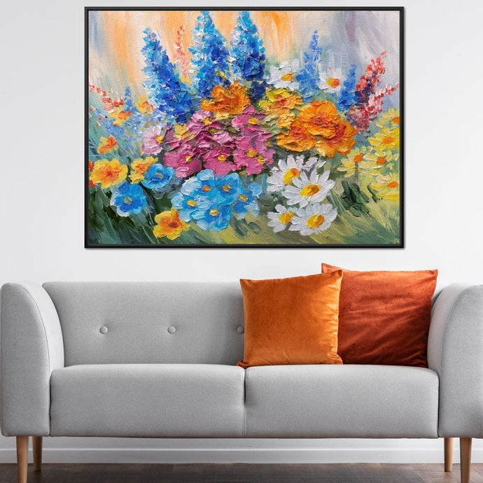 Abstract Bouquet of Spring Flowers - NicheCanvas