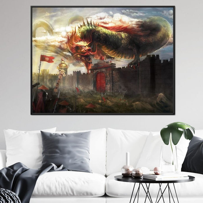 Chinese Dragon Battle Large Floating Frame