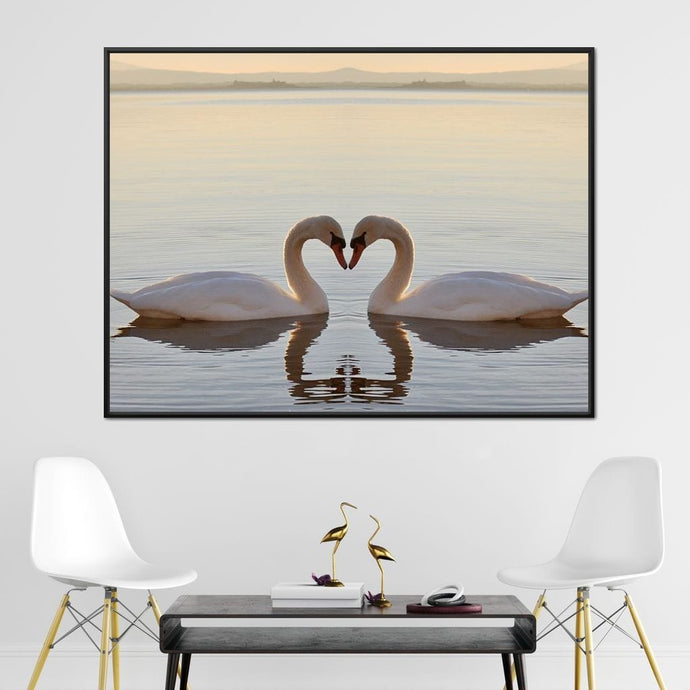Swans On The Lake Multi Panel Canvas Wall Art - NicheCanvas