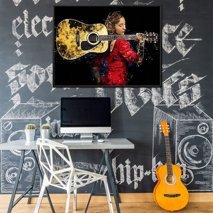 Girl and Guitar - Mateo - NicheCanvas