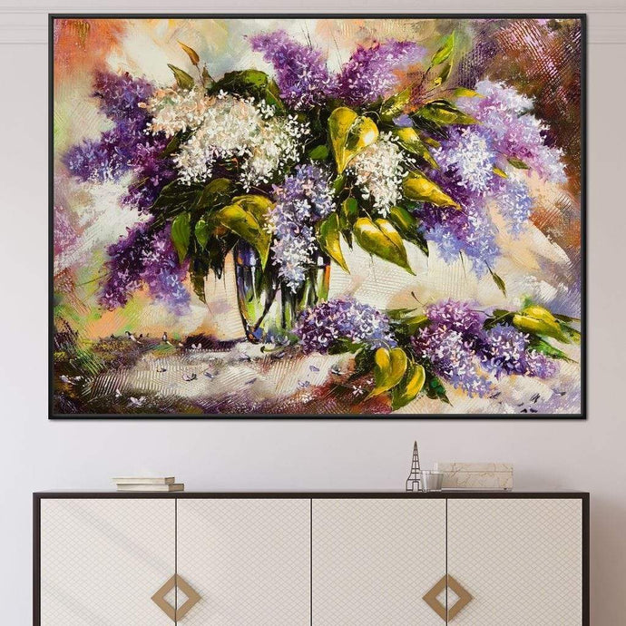 Lilac Bouquet Multi Panel Canvas Wall Art - NicheCanvas