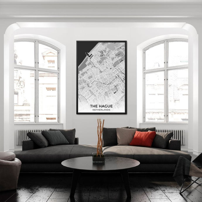 Map of The Hague, Netherlands Multi Panel Canvas Wall Art - NicheCanvas