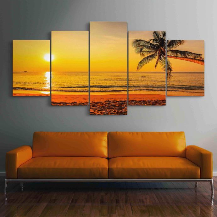 Tropical Sunset Multi Panel Canvas Wall Art - NicheCanvas