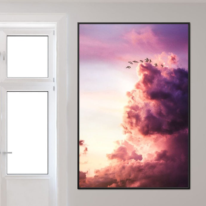 Penguins Jumping Off Cloud - Alexgraphex Multi Panel Canvas Wall Art - NicheCanvas