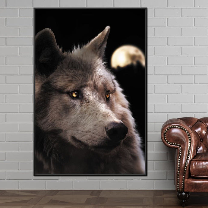 Wolf Moon - Zenzdesign Multi Panel Canvas Wall Art - NicheCanvas