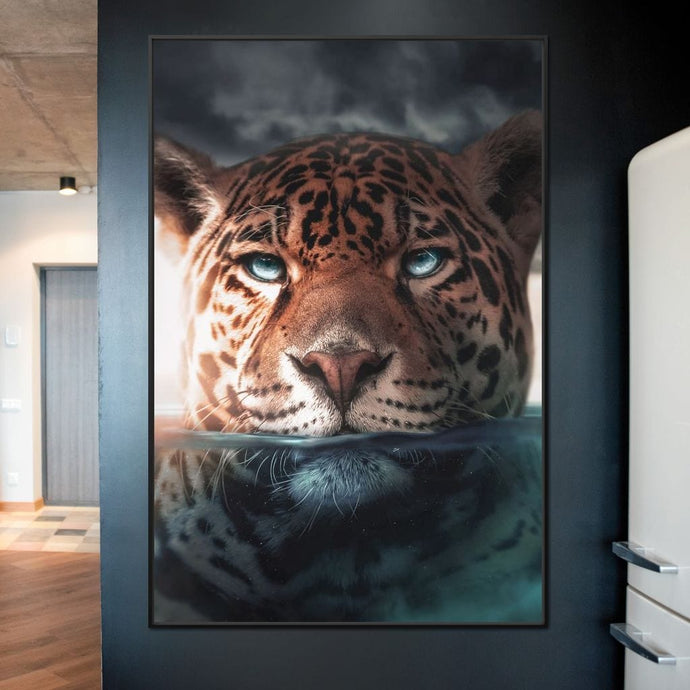 Leopard Underwater - Zenzdesign Multi Panel Canvas Wall Art - NicheCanvas