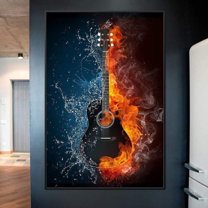 Fire & Water Guitar Multi Panel Canvas Wall Art - NicheCanvas