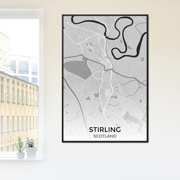 Map of Stirling, Scotland Multi Panel Canvas Wall Art - NicheCanvas