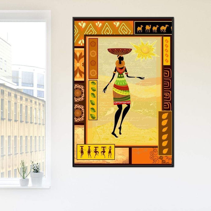 African Art Canvas Multi Panel Canvas Wall Art - NicheCanvas
