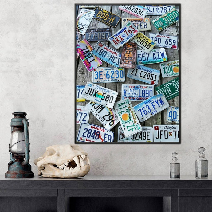License Plates Multi Panel Canvas Wall Art - NicheCanvas