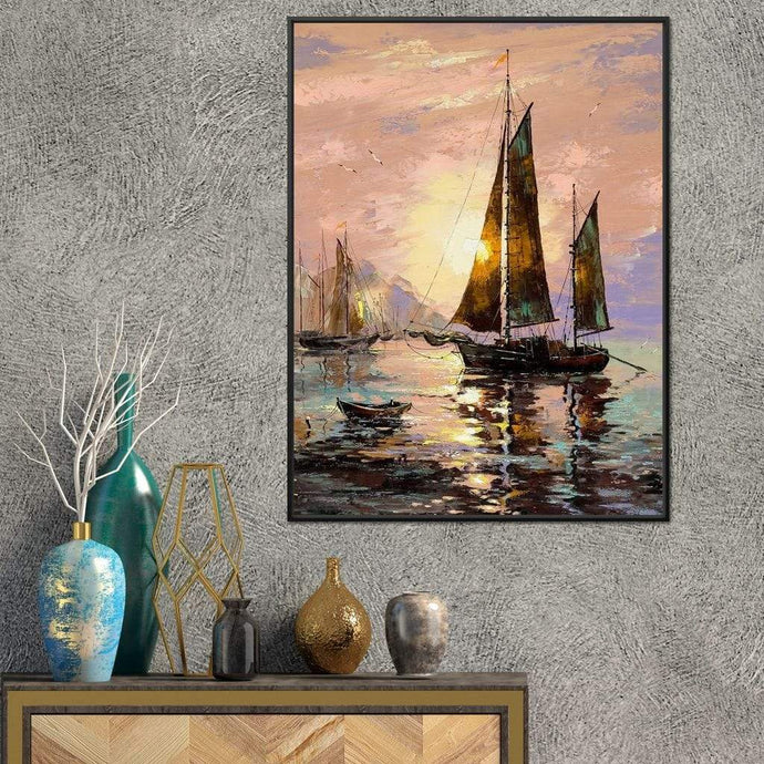 Spanish Sailing Boats Medium Floating Frame