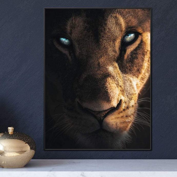 Lioness Eyes - Zenzdesign Multi Panel Canvas Wall Art - NicheCanvas