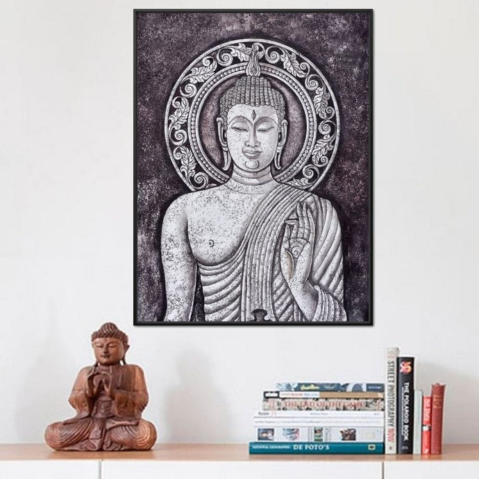 Grey Stone Buddha Multi Panel Canvas Wall Art - NicheCanvas