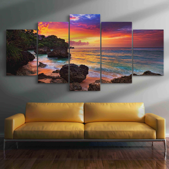 Sunset Beach Romance Multi Panel Canvas Wall Art - NicheCanvas