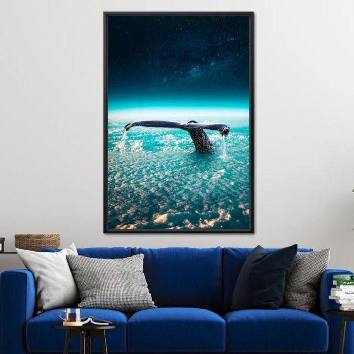 Whale Through Clouds - Alexgraphex Multi Panel Canvas Wall Art - NicheCanvas