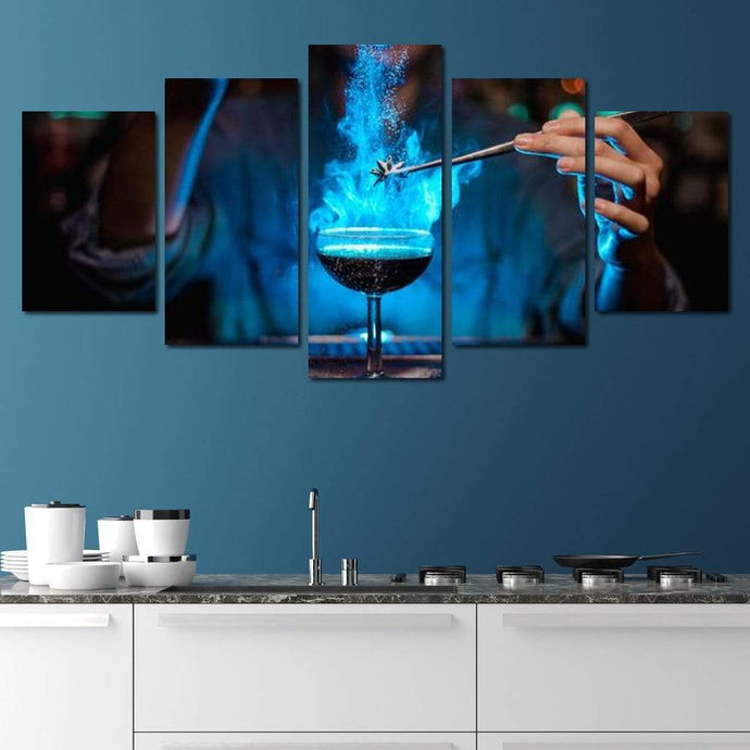 Blue Cocktail Multi Panel Canvas Wall Art - NicheCanvas