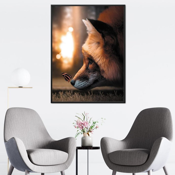 Fox Butterfly - Zenzdesign Multi Panel Canvas Wall Art - NicheCanvas