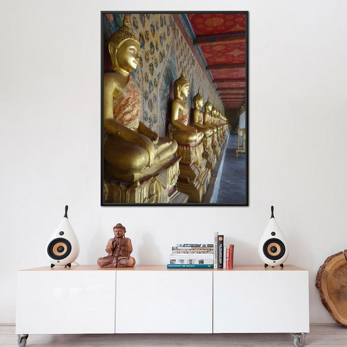 Wat Arun Temple Statues - Corinne Gravel Multi Panel Canvas Wall Art - NicheCanvas