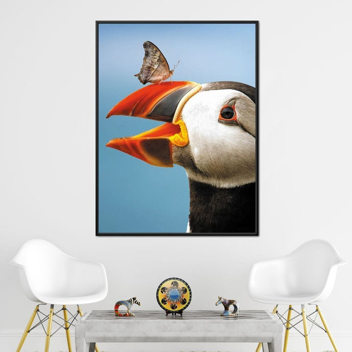 Puffin Butterfly - Zenzdesign Multi Panel Canvas Wall Art - NicheCanvas