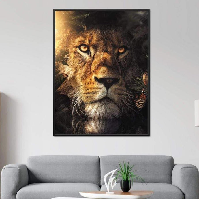 Lion Hiding - Zenzdesign Multi Panel Canvas Wall Art - NicheCanvas
