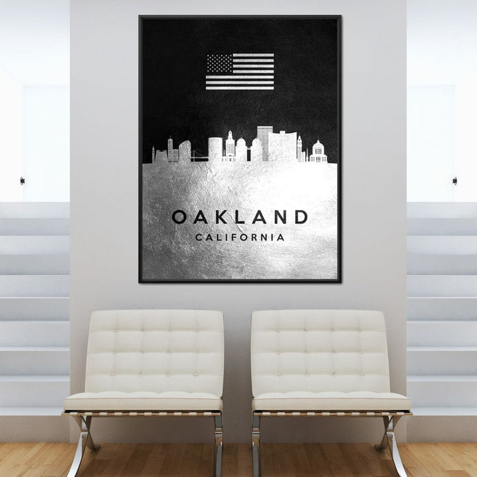 Oakland Silver Skyline - ABConcepts - NicheCanvas
