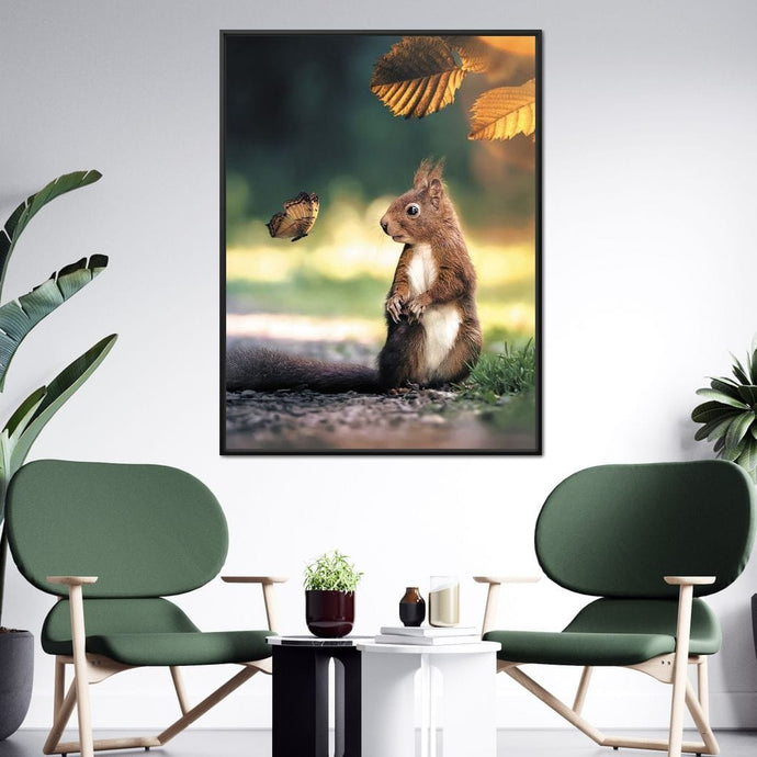 Squirrel Butterfly - Zenzdesign Multi Panel Canvas Wall Art - NicheCanvas