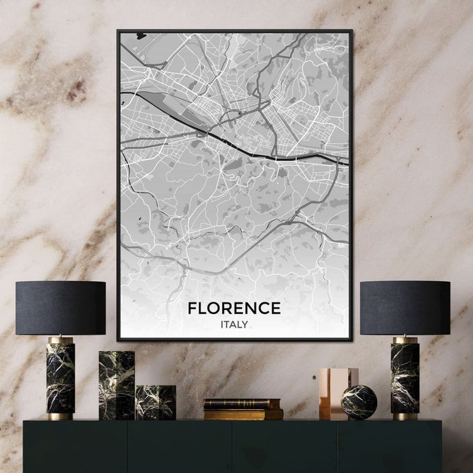 Map of Florence, Italy Multi Panel Canvas Wall Art - NicheCanvas