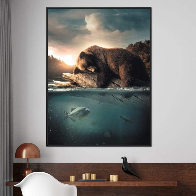 Floating Bear - Zenzdesign Multi Panel Canvas Wall Art - NicheCanvas
