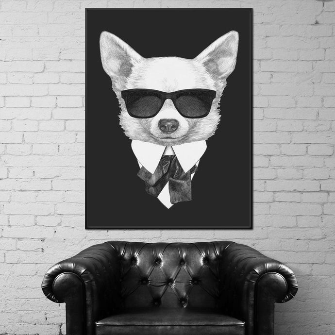 Dressed Up Chihuahua Multi Panel Canvas Wall Art - NicheCanvas